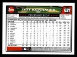 2008 Topps #657  Jeff Keppinger  Back Thumbnail