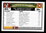 2008 Topps #61   -  Alex Rodriguez / Carkis Pena / David Ortiz AL Home Run Leaders Back Thumbnail