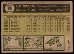 1961 Topps #59  Jim Woods  Back Thumbnail