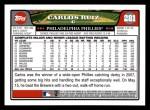 2008 Topps #281  Carlos Ruiz  Back Thumbnail