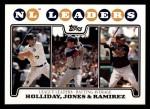 2008 Topps #326   -  Chipper Jones / Hanley Ramirez / Matt Holliday NL Batting Leaders Front Thumbnail