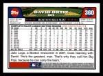 2008 Topps #360  David Ortiz  Back Thumbnail