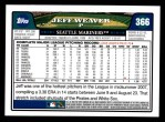2008 Topps #366  Jeff Weaver  Back Thumbnail