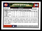 2008 Topps #383  Jered Weaver  Back Thumbnail
