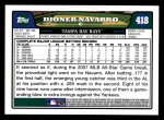 2008 Topps #418  Dioner Navarro  Back Thumbnail