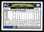 2008 Topps #557  John McDonald  Back Thumbnail
