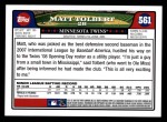 2008 Topps #561  Matt Tolbert  Back Thumbnail