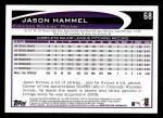 2012 Topps #68  Jason Hammel  Back Thumbnail
