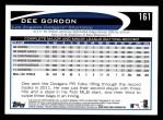 2012 Topps #161  Dee Gordon  Back Thumbnail