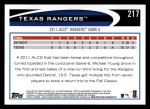 2012 Topps #217   Texas Rangers Postseason Back Thumbnail
