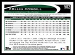 2012 Topps #502  Collin Cowgill  Back Thumbnail