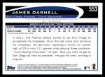 2012 Topps #553  James Darnell  Back Thumbnail