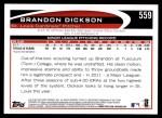 2012 Topps #559  Brandon Dickson  Back Thumbnail