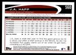 2012 Topps #560  J.A. Happ  Back Thumbnail