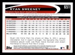 2012 Topps #651  Ryan Sweeney  Back Thumbnail