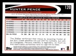 2012 Topps #120  Hunter Pence  Back Thumbnail