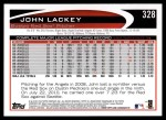 2012 Topps #328  John Lackey  Back Thumbnail