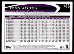 2012 Topps #416  Todd Helton  Back Thumbnail