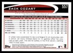 2012 Topps #557  Zack Cozart  Back Thumbnail
