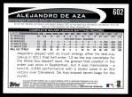 2012 Topps #602  Alejandro De Aza  Back Thumbnail