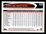 2012 Topps #656  Carlos Santana  Back Thumbnail