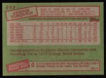 1985 Topps #212  George Vuckovich  Back Thumbnail