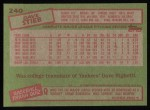 1985 Topps #240  Dave Stieb  Back Thumbnail