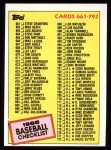 1985 Topps #784   Checklist Front Thumbnail