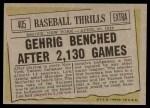 1961 Topps #405   -  Lou Gehrig Baseball Thrills Back Thumbnail