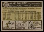 1961 Topps #324  Hank Aguirre  Back Thumbnail