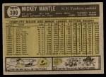 1961 Topps #300  Mickey Mantle  Back Thumbnail