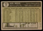 1961 Topps #14  Don Mossi  Back Thumbnail