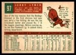 1959 Topps #97  Jerry Lynch  Back Thumbnail