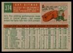 1959 Topps #374  Art Ditmar  Back Thumbnail