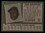 1971 Topps #431  Tom Burgmeier  Back Thumbnail