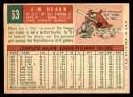 1959 Topps #63  Jim Hearn  Back Thumbnail