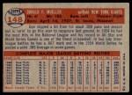 1957 Topps #148  Don Mueller  Back Thumbnail