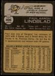 1973 Topps #406  Paul Lindblad  Back Thumbnail