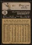1973 Topps #14  Sonny Siebert  Back Thumbnail