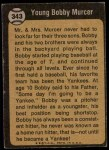 1973 Topps #343   -  Bobby Murcer Boyhood Photo Back Thumbnail