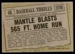 1961 Topps #406   -  Mickey Mantle Baseball Thrills Back Thumbnail