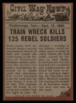 1962 Topps Civil War News #53   Train of Doom Back Thumbnail