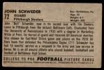 1952 Bowman Large #72  John Schweder  Back Thumbnail