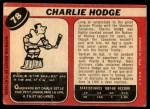 1968 O-Pee-Chee #78  Charlie Hodge  Back Thumbnail