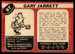 1968 O-Pee-Chee #87  Gary Jarrett  Back Thumbnail