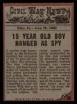 1962 Topps Civil War News #25   Hanging the Spy Back Thumbnail
