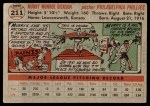 1956 Topps #211  Murry Dickson  Back Thumbnail