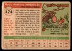1955 Topps #174  Rudy Minarcin  Back Thumbnail