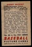 1951 Bowman #84  Barney McCosky  Back Thumbnail