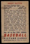 1951 Bowman #47  Grady Hatton  Back Thumbnail